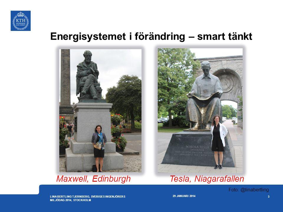 Energisystemet i förändring – smart tänkt 29 JANUARI 2014 3 LINA BERTLING TJERNBERG, SVERIGES INGENJÖRERS MILJÖDAG 2014, STOCKHOLM Foto: @linabertling