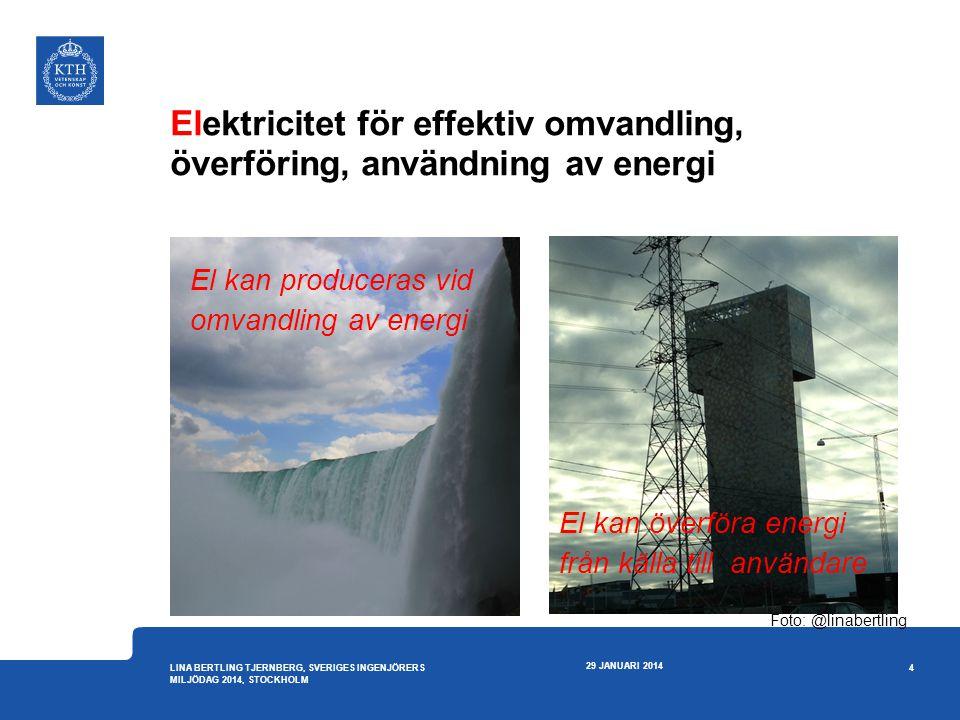 Elektricitet för effektiv omvandling, överföring, användning av energi 29 JANUARI 2014 4 LINA BERTLING TJERNBERG, SVERIGES INGENJÖRERS MILJÖDAG 2014,