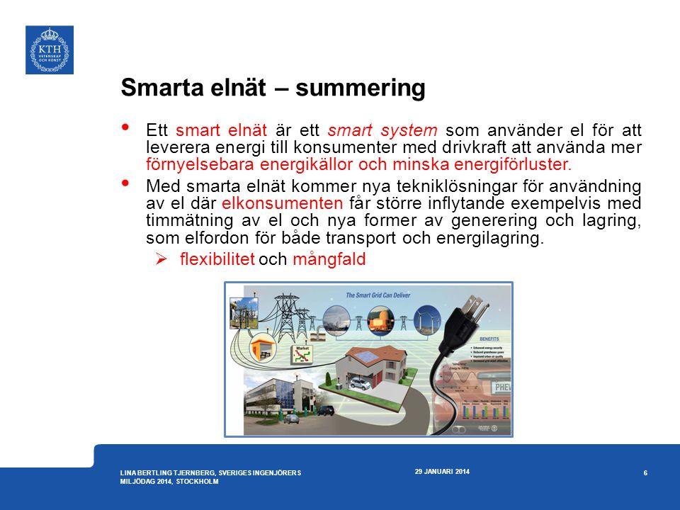 Smarta elnät – mer information • Samordningsrådet för smarta elnät www.swedishsmartgrid.se www.swedishsmartgrid.se • EU Smart Grid www.smartgrids.euwww.smartgrids.eu • IEEE Smart Grid smartgrid.ieee.org/ieee-smart- gridsmartgrid.ieee.org/ieee-smart- grid • EIT KIC InnoEnergy www.kic-innoenergy.comwww.kic-innoenergy.com –Sverige koordinerar området smarta elnät, och KTH deltar med flera innovations- och forskningsprojekt 29 JANUARI 2014 27 LINA BERTLING TJERNBERG, SVERIGES INGENJÖRERS MILJÖDAG 2014, STOCKHOLM