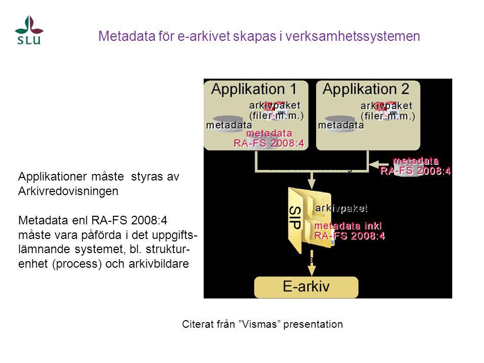 Applikationer måste styras av Arkivredovisningen Metadata enl RA-FS 2008:4 måste vara påförda i det uppgifts- lämnande systemet, bl. struktur- enhet (
