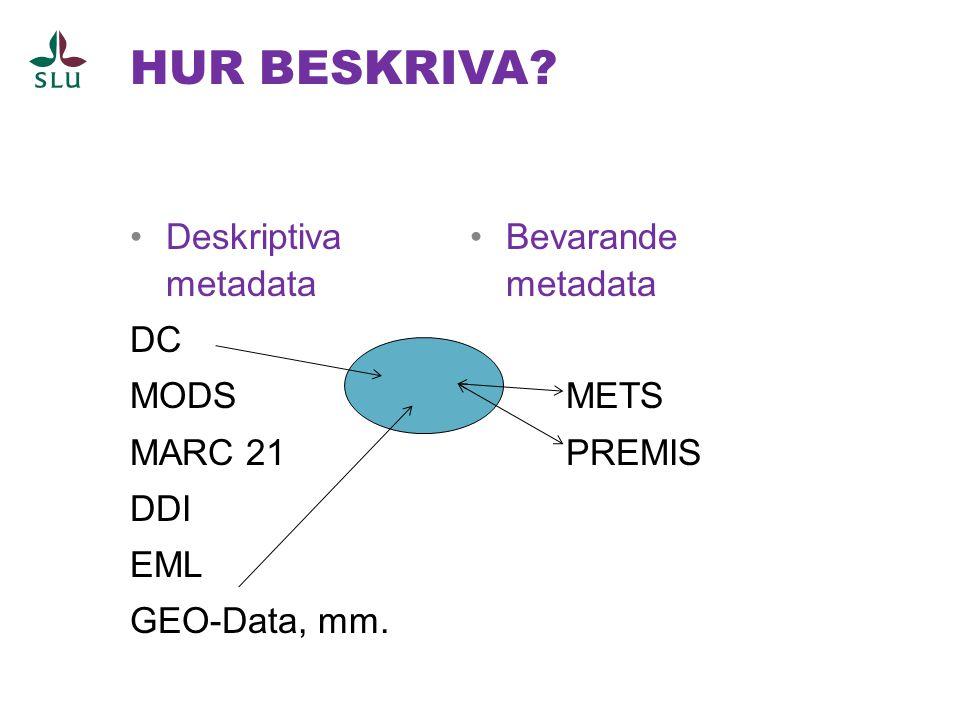 HUR BESKRIVA? •Deskriptiva metadata DC MODS MARC 21 DDI EML GEO-Data, mm. •Bevarande metadata METS PREMIS
