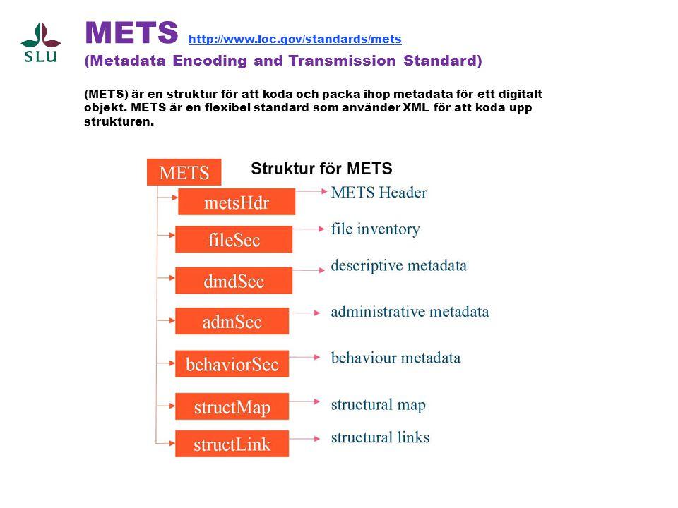 METS http://www.loc.gov/standards/mets (Metadata Encoding and Transmission Standard) (METS) är en struktur för att koda och packa ihop metadata för et