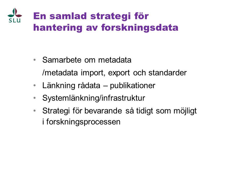 En samlad strategi för hantering av forskningsdata •Samarbete om metadata /metadata import, export och standarder •Länkning rådata – publikationer •Sy
