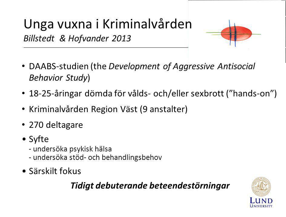 Unga vuxna i Kriminalvården Billstedt & Hofvander 2013 • DAABS-studien (the Development of Aggressive Antisocial Behavior Study) • 18-25-åringar dömda