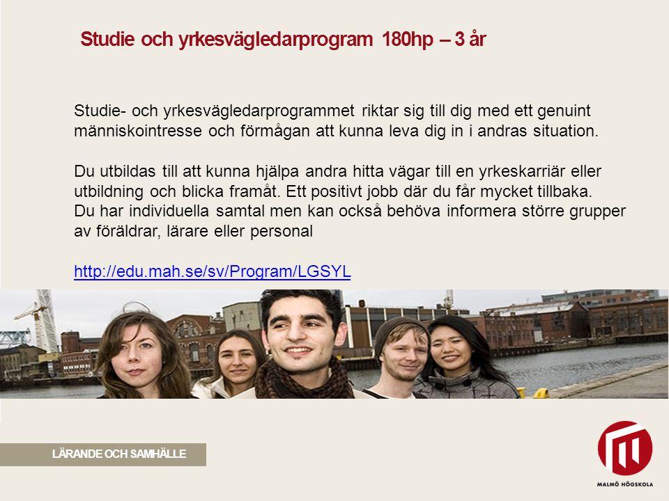 2010 05 04 Studie- och yrkesvägledarprogrammet riktar sig till dig med ett genuint människointresse och förmågan att kunna leva dig in i andras situat