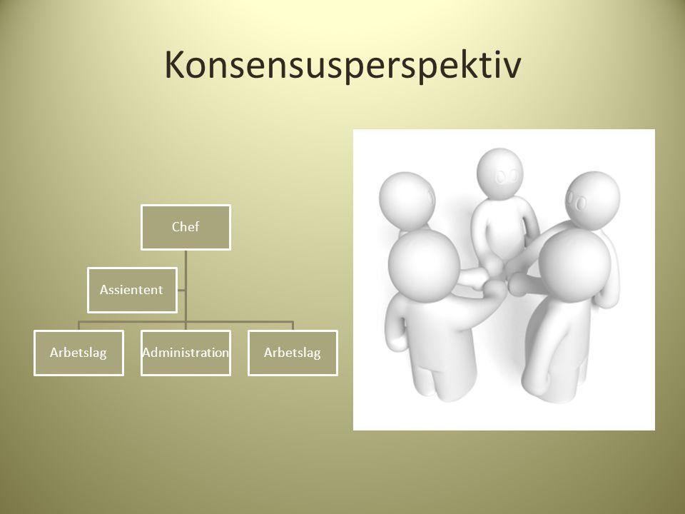 Konsensusperspektiv Chef ArbetslagAdministrationArbetslag Assientent