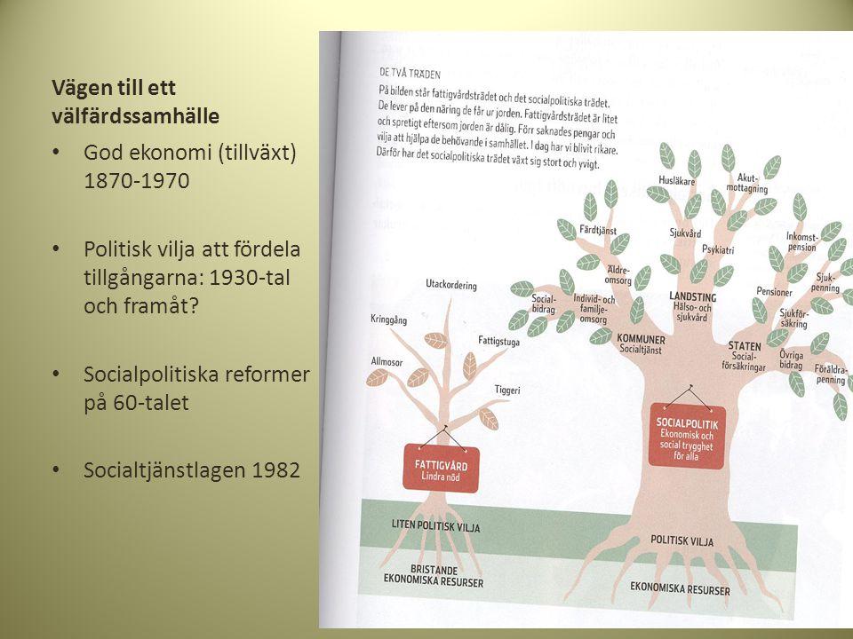 Vägen till ett välfärdssamhälle • God ekonomi (tillväxt) 1870-1970 • Politisk vilja att fördela tillgångarna: 1930-tal och framåt? • Socialpolitiska r
