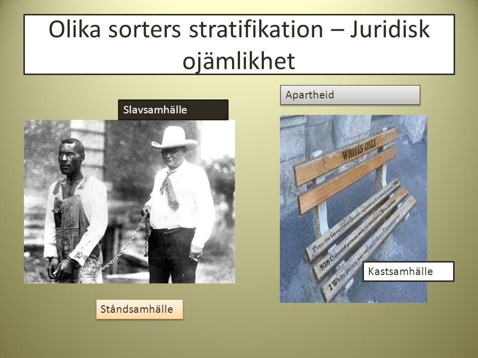 Olika sorters stratifikation – Juridisk ojämlikhet Slavsamhälle Apartheid Ståndsamhälle Kastsamhälle