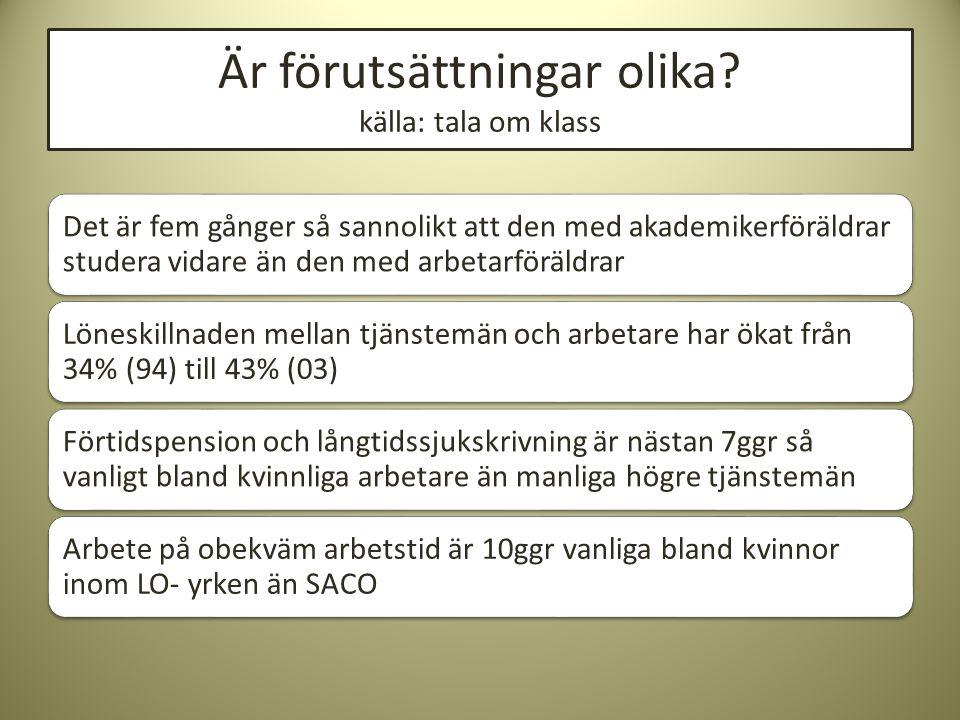 Tjänstemän och företagare i Sverige YRKESGRUPP Normalt utbildningskrav efter grundskola Andel av befolkningen (2004) Andel kvinnor Tjänstemän (yrken normalt organiserade inom TCO eller SACO) a.Lägre tjänstemän I b.Lägre tjänstemän II Mindre än två år Två men ej tre år -Kontorsjobb 13%62% Tjänstemän på mellannivåTre men ej sex år22%56% Högre tjänsteman Läkare, jurister, civiliekonomer Minst sex år16%43% Ledande befattning Minst sex år FÖRETAGARE 9%28% Fria yrkesutövare med akademikeryrken Minst sex år + eget företag Företagare exkl.