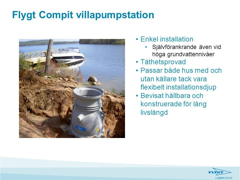 Flygt Compit villapumpstation •Enkel installation •Självförankrande även vid höga grundvattennivåer •Täthetsprovad •Passar både hus med och utan källa