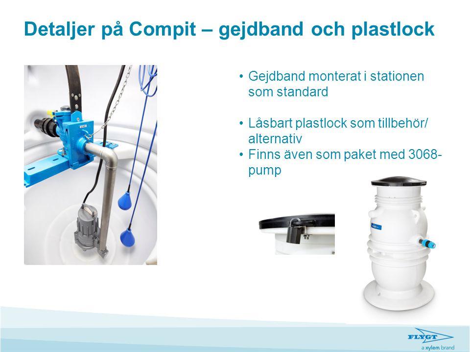 Detaljer på Compit – gejdband och plastlock •Gejdband monterat i stationen som standard •Låsbart plastlock som tillbehör/ alternativ •Finns även som p