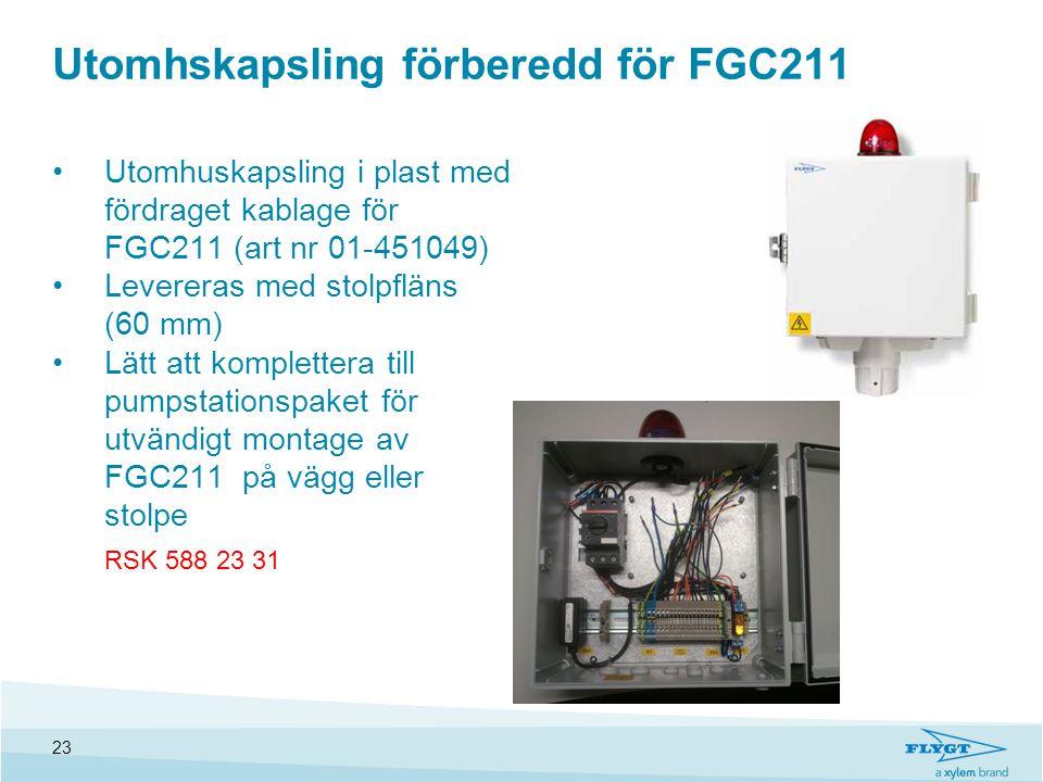 Utomhskapsling förberedd för FGC211 •Utomhuskapsling i plast med fördraget kablage för FGC211 (art nr 01-451049) •Levereras med stolpfläns (60 mm) •Lä