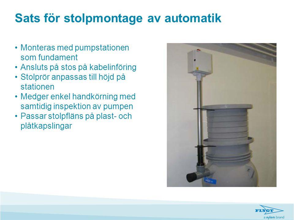 Sats för stolpmontage av automatik •Monteras med pumpstationen som fundament •Ansluts på stos på kabelinföring •Stolprör anpassas till höjd på station