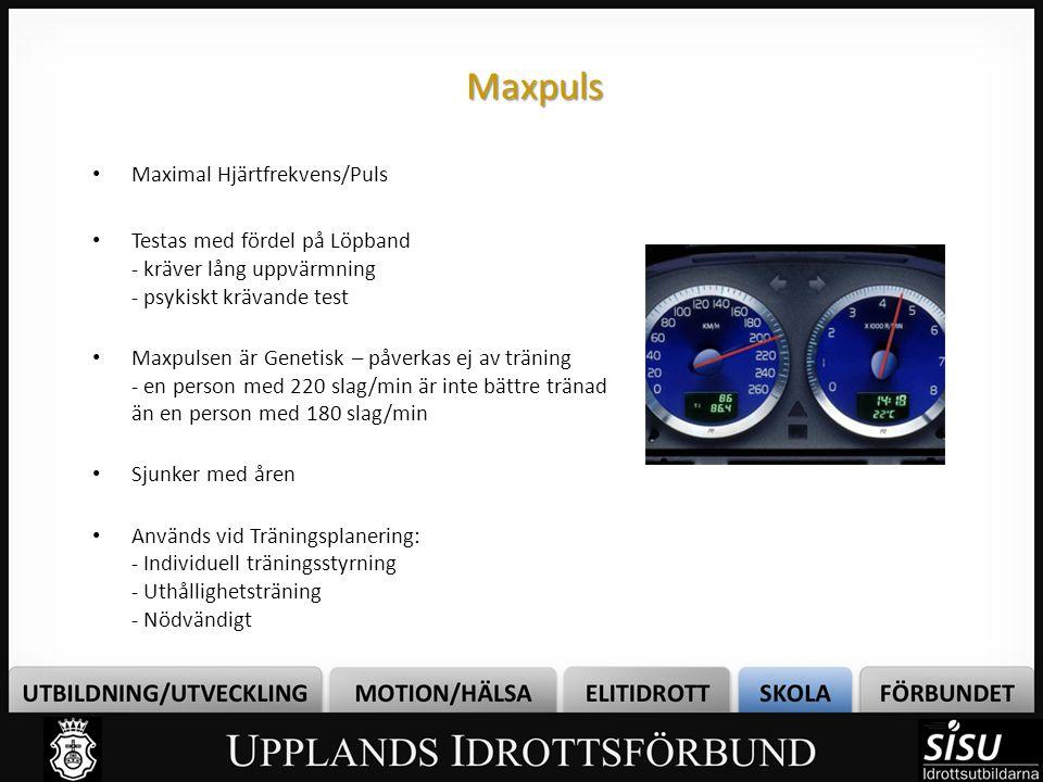 Maxpuls • Maximal Hjärtfrekvens/Puls • Testas med fördel på Löpband - kräver lång uppvärmning - psykiskt krävande test • Maxpulsen är Genetisk – påver