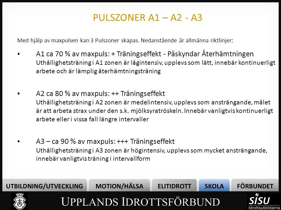 PULSZONER A1 – A2 - A3 Med hjälp av maxpulsen kan 3 Pulszoner skapas. Nedanstående är allmänna riktlinjer: • A1 ca 70 % av maxpuls: + Träningseffekt -