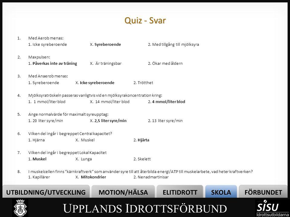 Quiz - Svar 1.Med Aerob menas: 1. Icke syreberoendeX. Syreberoende2. Med tillgång till mjölksyra 2.Maxpulsen: 1. Påverkas inte av träningX. Är träning