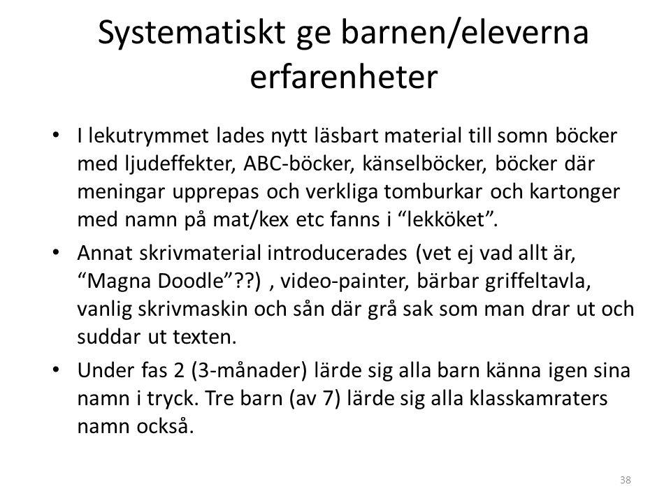 38 Systematiskt ge barnen/eleverna erfarenheter • I lekutrymmet lades nytt läsbart material till somn böcker med ljudeffekter, ABC-böcker, känselböcke