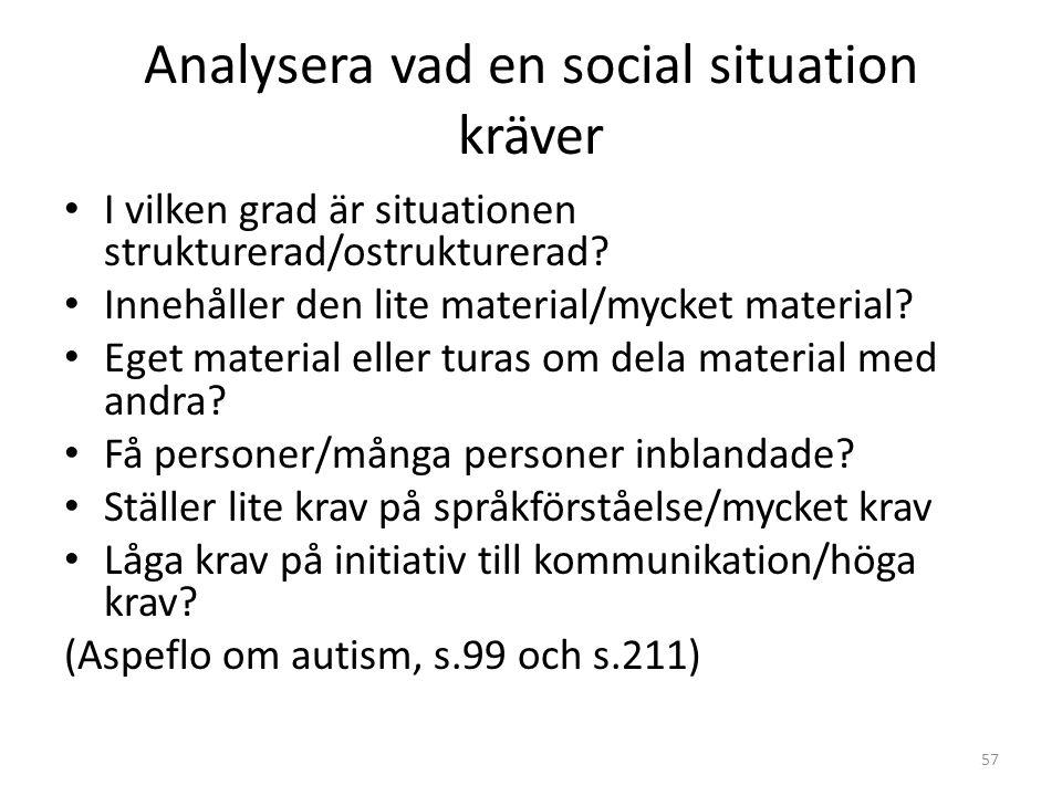 Analysera vad en social situation kräver • I vilken grad är situationen strukturerad/ostrukturerad? • Innehåller den lite material/mycket material? •