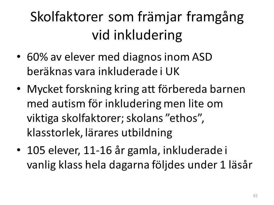 Skolfaktorer som främjar framgång vid inkludering • 60% av elever med diagnos inom ASD beräknas vara inkluderade i UK • Mycket forskning kring att för