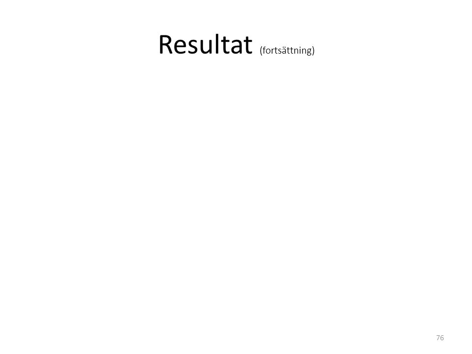 Resultat (fortsättning) 76