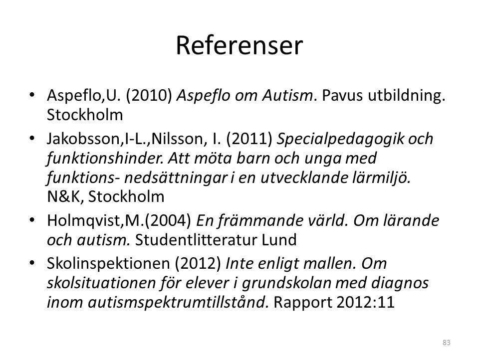 Referenser • Aspeflo,U. (2010) Aspeflo om Autism. Pavus utbildning. Stockholm • Jakobsson,I-L.,Nilsson, I. (2011) Specialpedagogik och funktionshinder