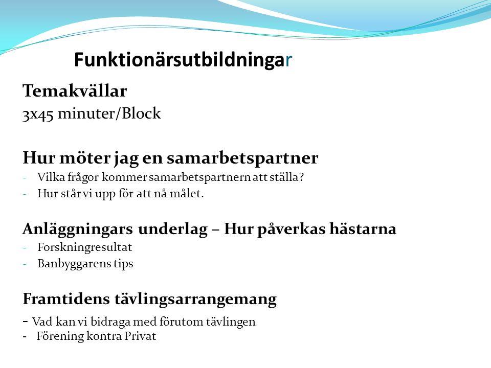 Funktionärsutbildningar Temakvällar 3x45 minuter/Block Hur möter jag en samarbetspartner - Vilka frågor kommer samarbetspartnern att ställa.