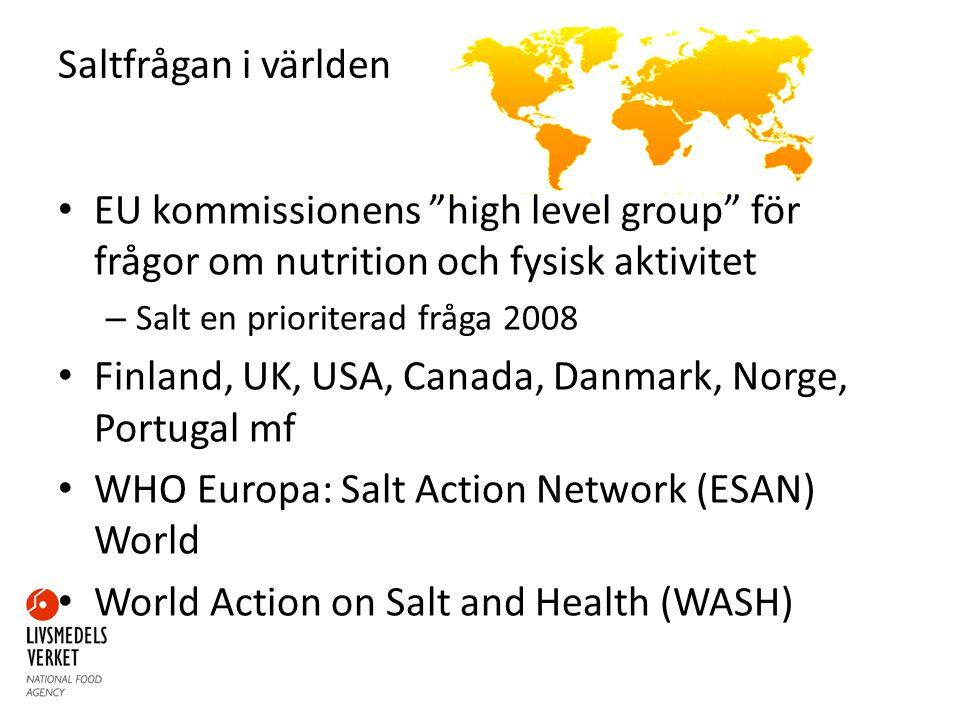 Mål inom EU Rådsslutsatser Riktmärken för livsmedelsgrupper som representerar de största saltkällorna Minska saltinnehållet med 16% Bröd Färdigmat Kött- och charkprodukter Ost Medlemsstaterna kan sätta egna mål