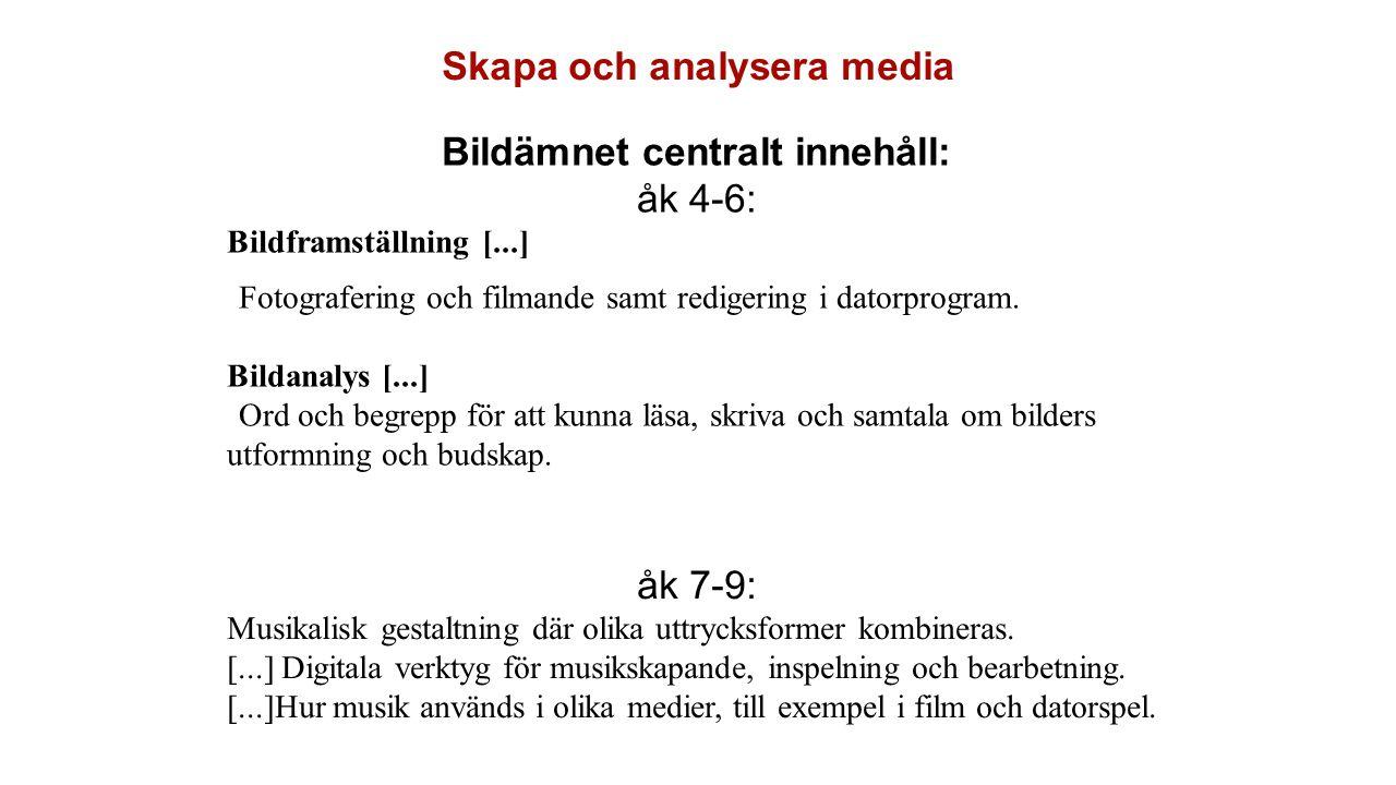 Skapa och analysera media Bildämnet centralt innehåll: åk 4-6: Bildframställning [...] •Fotografering och filmande samt redigering i datorprogram. Bil