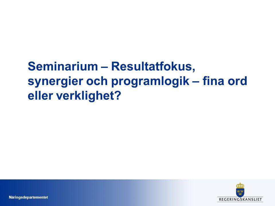 Näringsdepartementet Seminarium – Resultatfokus, synergier och programlogik – fina ord eller verklighet?