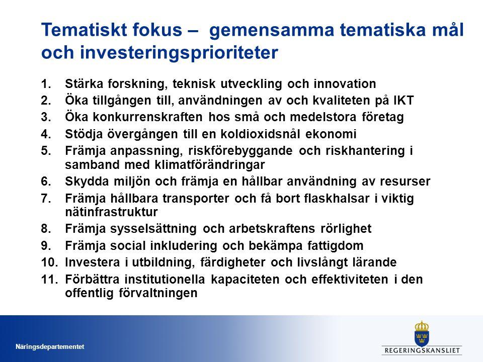 Näringsdepartementet Tematiskt fokus – gemensamma tematiska mål och investeringsprioriteter 1.Stärka forskning, teknisk utveckling och innovation 2.Öka tillgången till, användningen av och kvaliteten på IKT 3.Öka konkurrenskraften hos små och medelstora företag 4.Stödja övergången till en koldioxidsnål ekonomi 5.Främja anpassning, riskförebyggande och riskhantering i samband med klimatförändringar 6.Skydda miljön och främja en hållbar användning av resurser 7.Främja hållbara transporter och få bort flaskhalsar i viktig nätinfrastruktur 8.Främja sysselsättning och arbetskraftens rörlighet 9.Främja social inkludering och bekämpa fattigdom 10.Investera i utbildning, färdigheter och livslångt lärande 11.Förbättra institutionella kapaciteten och effektiviteten i den offentlig förvaltningen