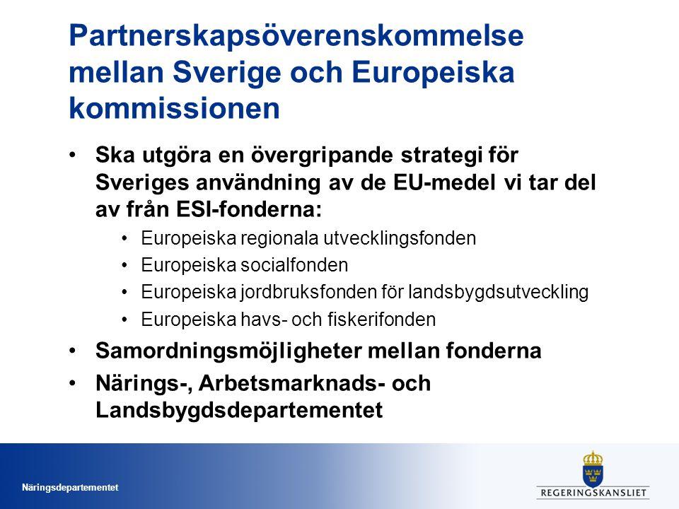 Näringsdepartementet Partnerskapsöverenskommelse mellan Sverige och Europeiska kommissionen •Ska utgöra en övergripande strategi för Sveriges användning av de EU-medel vi tar del av från ESI-fonderna: •Europeiska regionala utvecklingsfonden •Europeiska socialfonden •Europeiska jordbruksfonden för landsbygdsutveckling •Europeiska havs- och fiskerifonden •Samordningsmöjligheter mellan fonderna •Närings-, Arbetsmarknads- och Landsbygdsdepartementet