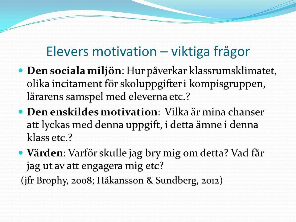 Elevers motivation – viktiga frågor  Den sociala miljön: Hur påverkar klassrumsklimatet, olika incitament för skoluppgifter i kompisgruppen, lärarens samspel med eleverna etc..