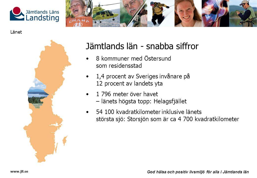 www.jll.se God hälsa och positiv livsmiljö för alla i Jämtlands län Länet Jämtlands län - snabba siffror •8 kommuner med Östersund som residensstad •1