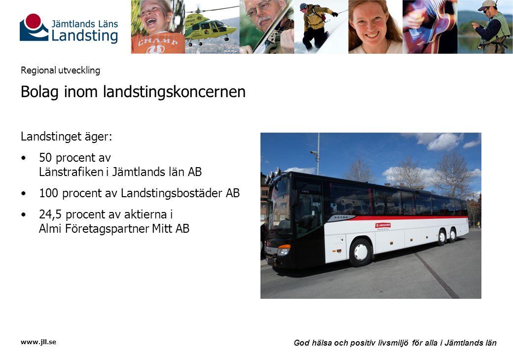 www.jll.se God hälsa och positiv livsmiljö för alla i Jämtlands län Regional utveckling Bolag inom landstingskoncernen Landstinget äger: •50 procent a