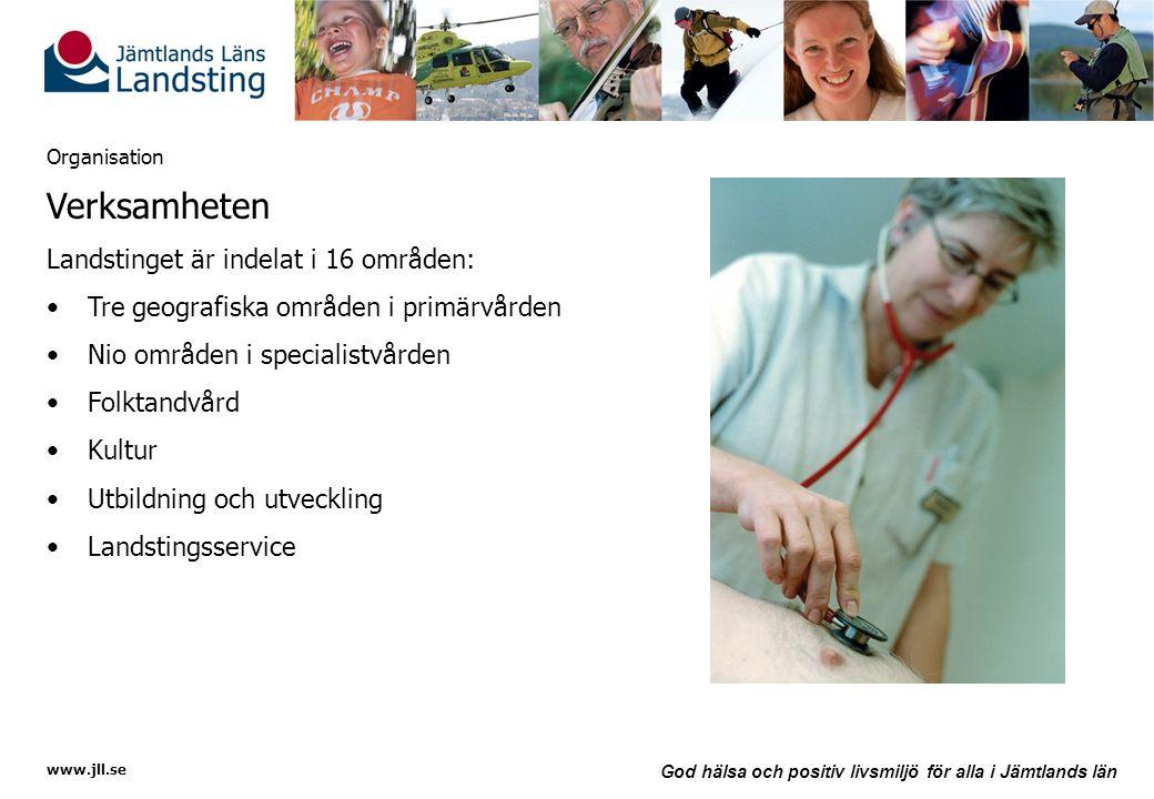 www.jll.se God hälsa och positiv livsmiljö för alla i Jämtlands län Organisation Verksamheten Landstinget är indelat i 16 områden: •Tre geografiska om