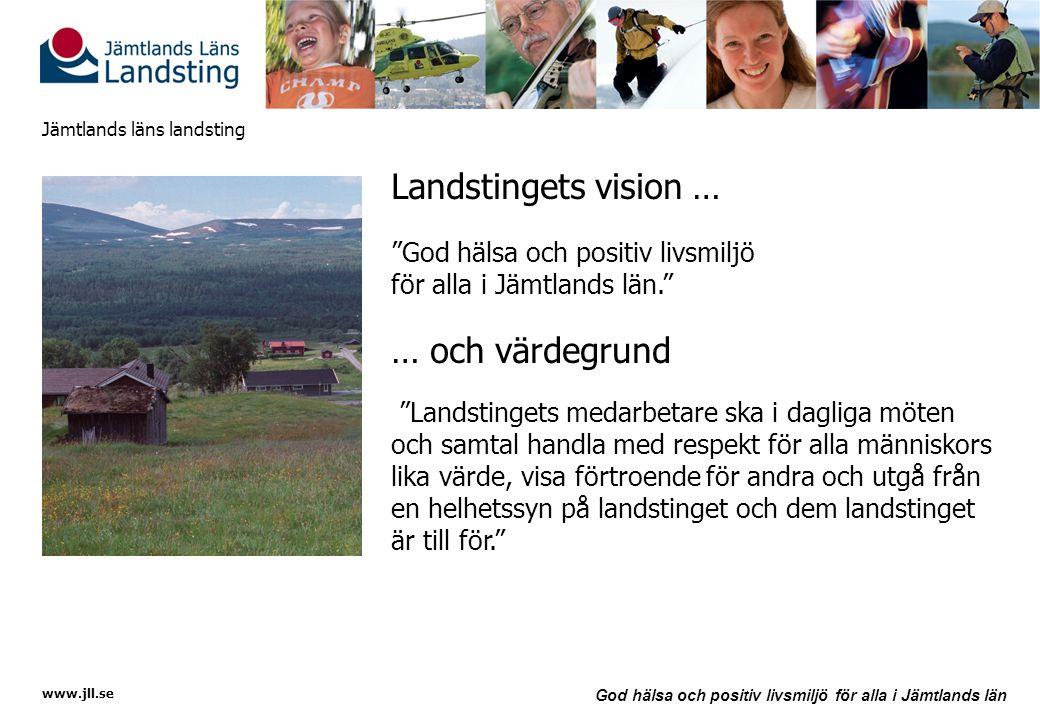 www.jll.se God hälsa och positiv livsmiljö för alla i Jämtlands län Jämtlands läns landsting Verksamhetsidé Hälso- och sjukvård Jämtlands läns landsting ska tillhandahålla en tillgänglig och god vård som tillfredställer medborgarnas behov av en trygg tillvaro med god livskvalitet genom att ha kvalitet och effektivitet som ledningsstrategi. Regional utveckling Jämtlands läns landsting ska, genom att samverka optimalt med andra aktörer, aktivt bidra till att de resurser som finns och kan utverkas används effektivt till en hållbar utveckling av regionen.
