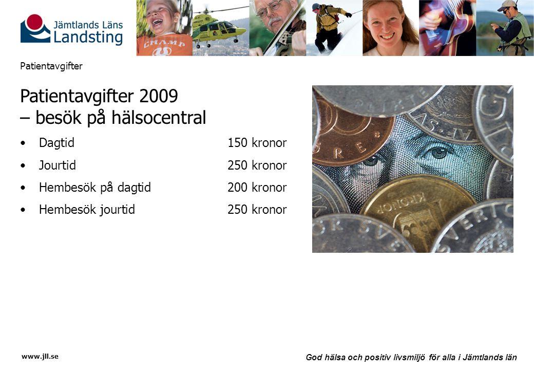 www.jll.se God hälsa och positiv livsmiljö för alla i Jämtlands län Patientavgifter Patientavgifter 2009 – besök på hälsocentral •Dagtid150 kronor •Jo