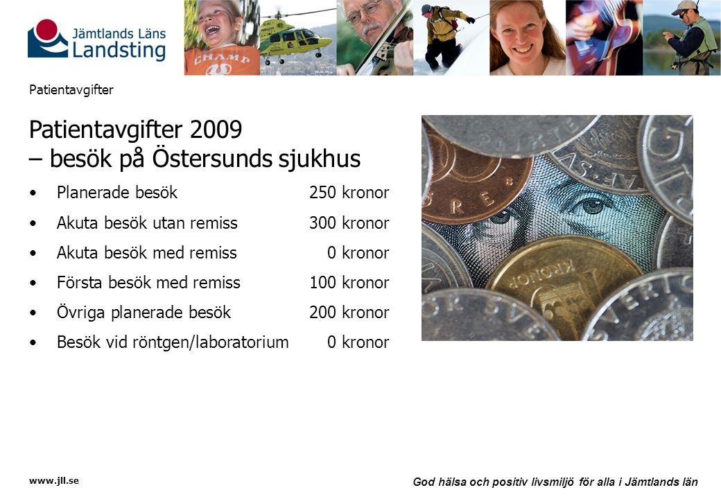 www.jll.se God hälsa och positiv livsmiljö för alla i Jämtlands län Patientavgifter Patientavgifter 2009 – besök på Östersunds sjukhus •Planerade besö