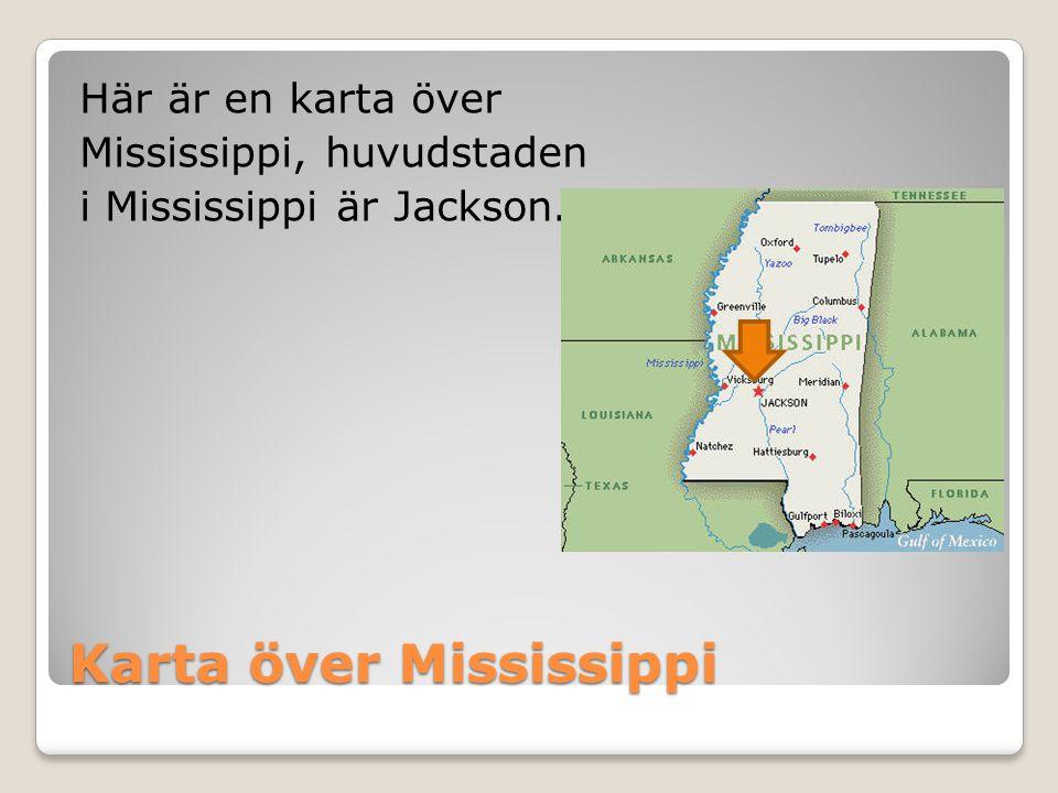 Karta över Mississippi Här är en karta över Mississippi, huvudstaden i Mississippi är Jackson.
