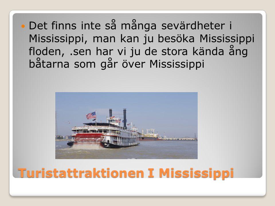 Turistattraktionen I Mississippi  Det finns inte så många sevärdheter i Mississippi, man kan ju besöka Mississippi floden,.sen har vi ju de stora kända ång båtarna som går över Mississippi