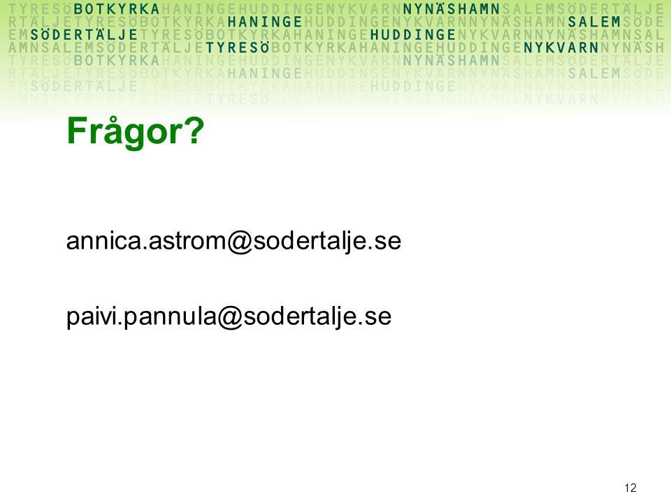 12 Frågor? annica.astrom@sodertalje.se paivi.pannula@sodertalje.se