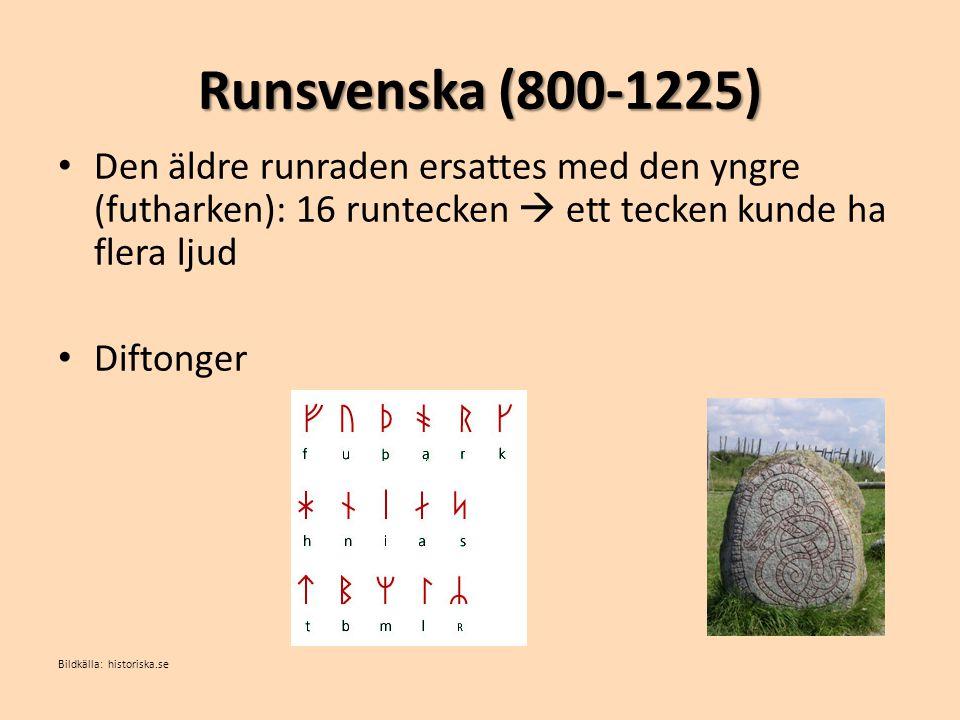 Fornsvenska (1225-1526) • Medeltidssvenska • 1200-1300-talen: mycket i språket förändras • Kristendomen infördes: latin och det latinska alfabetet.