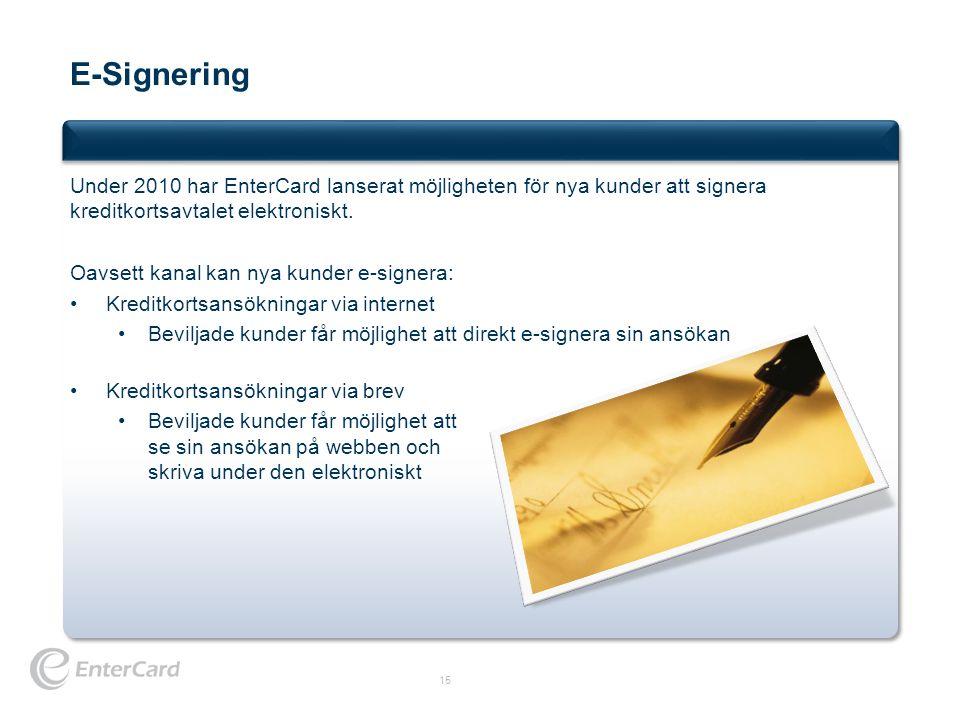 E-Signering 15 Under 2010 har EnterCard lanserat möjligheten för nya kunder att signera kreditkortsavtalet elektroniskt. Oavsett kanal kan nya kunder