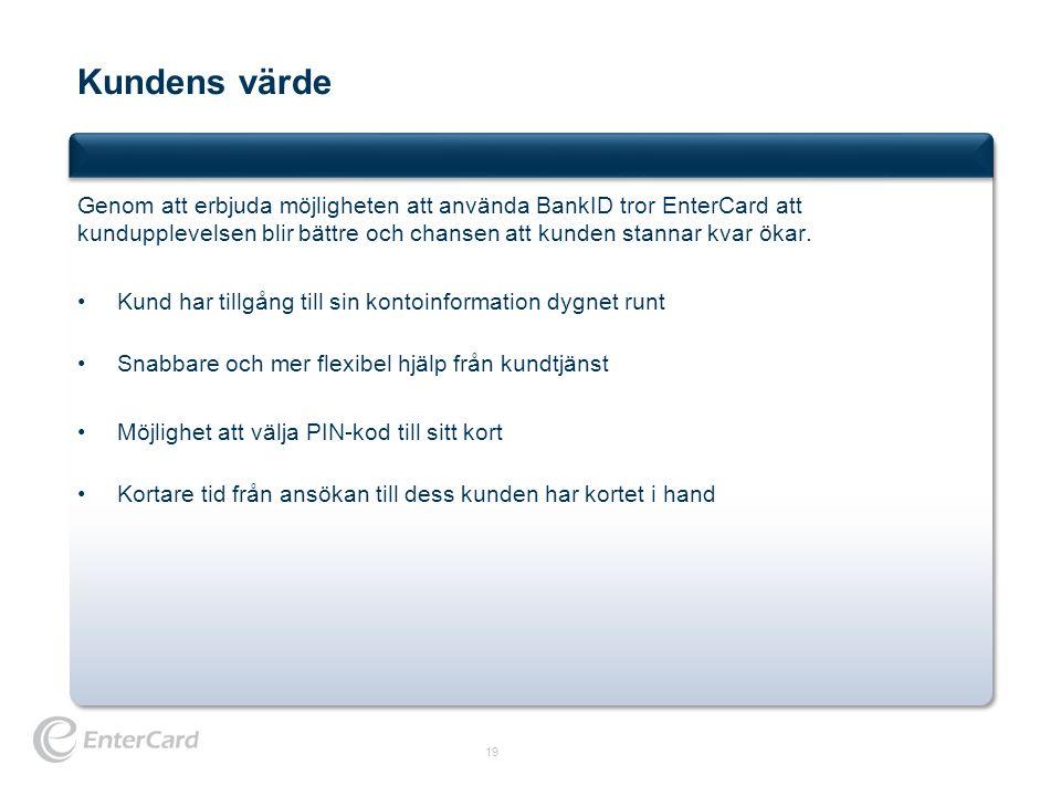 Kundens värde 19 Genom att erbjuda möjligheten att använda BankID tror EnterCard att kundupplevelsen blir bättre och chansen att kunden stannar kvar ö