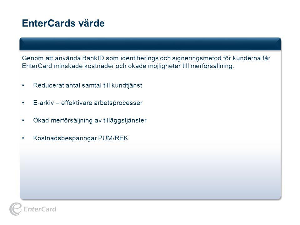 EnterCards värde Genom att använda BankID som identifierings och signeringsmetod för kunderna får EnterCard minskade kostnader och ökade möjligheter t