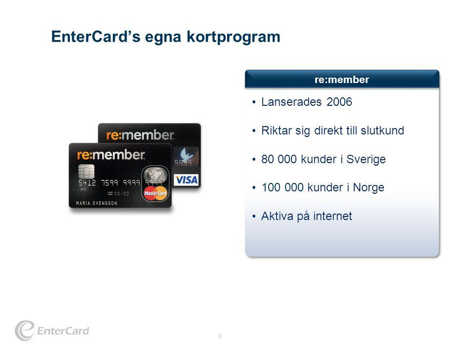 EnterCard's egna kortprogram 6 re:member •Lanserades 2006 •Riktar sig direkt till slutkund •80 000 kunder i Sverige •100 000 kunder i Norge •Aktiva på