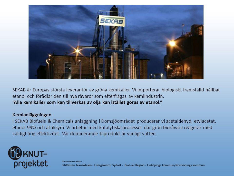 SEKAB är Europas största leverantör av gröna kemikalier. Vi importerar biologiskt framställd hållbar etanol och förädlar den till nya råvaror som efte