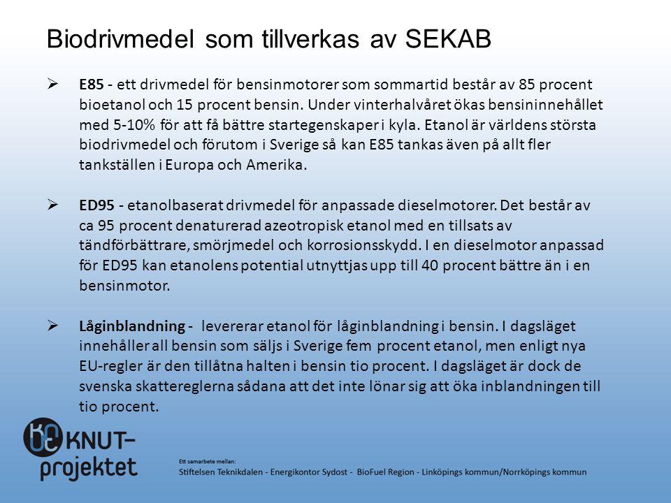 Biodrivmedel som tillverkas av SEKAB  E85 - ett drivmedel för bensinmotorer som sommartid består av 85 procent bioetanol och 15 procent bensin. Under