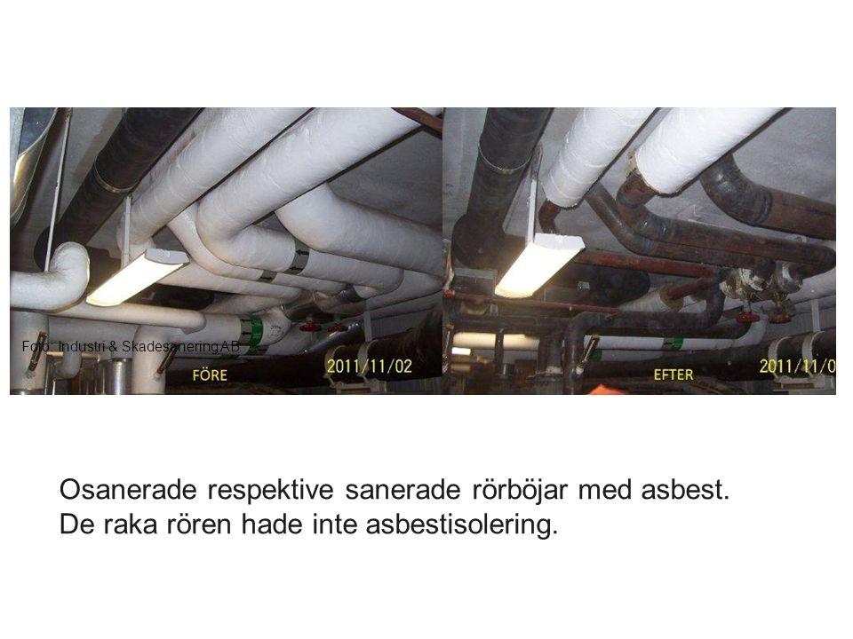 Foto: Industri & Skadesanering AB Osanerade respektive sanerade rörböjar med asbest. De raka rören hade inte asbestisolering.