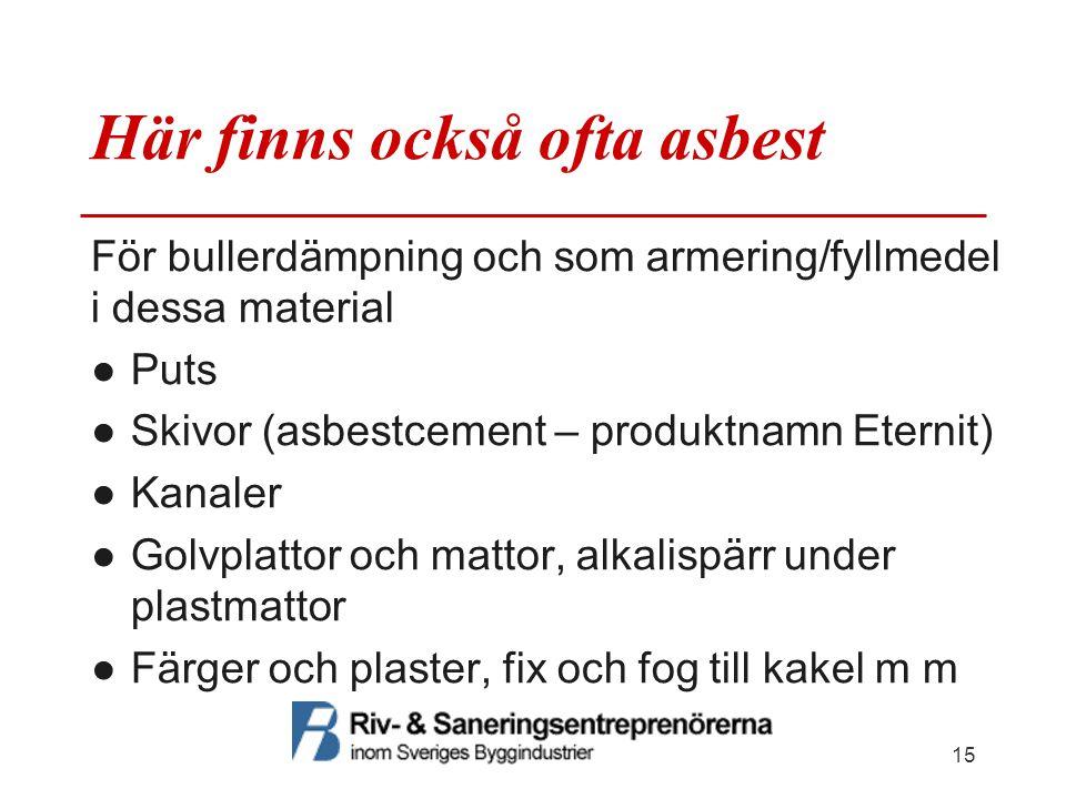 Här finns också ofta asbest För bullerdämpning och som armering/fyllmedel i dessa material ●Puts ●Skivor (asbestcement – produktnamn Eternit) ●Kanaler